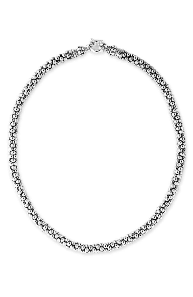 LAGOS Sterling Silver Caviar 7mm Rope Necklace, Main, color, STERLING SILVER