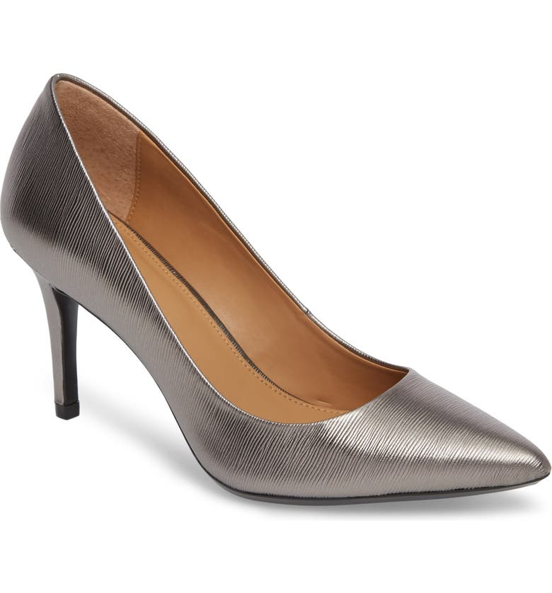 CALVIN KLEIN 'Gayle' Pointy Toe Pump, Main, color, ANTHRACITE