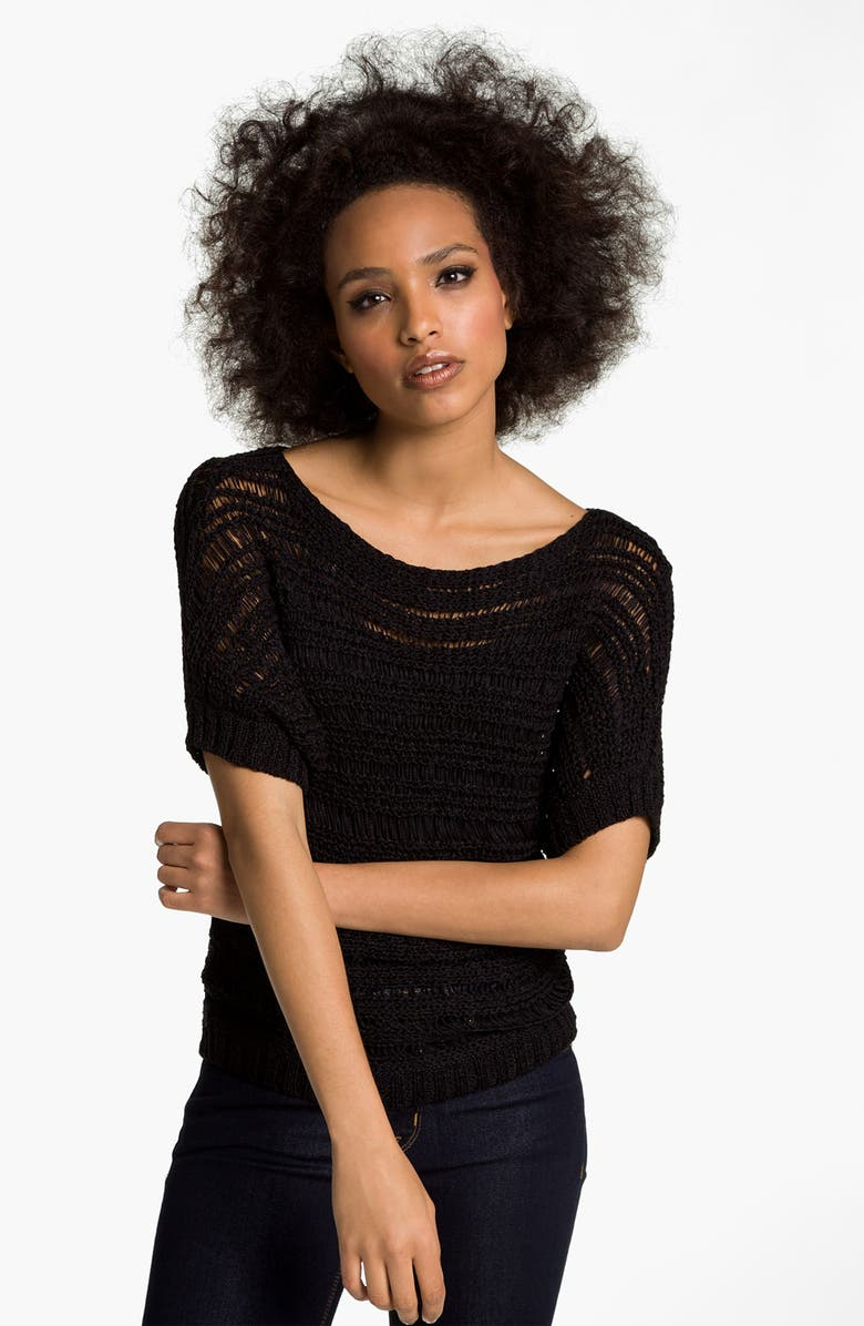 HINGE Open Stitch Dolman Sweater, Main, color, 001