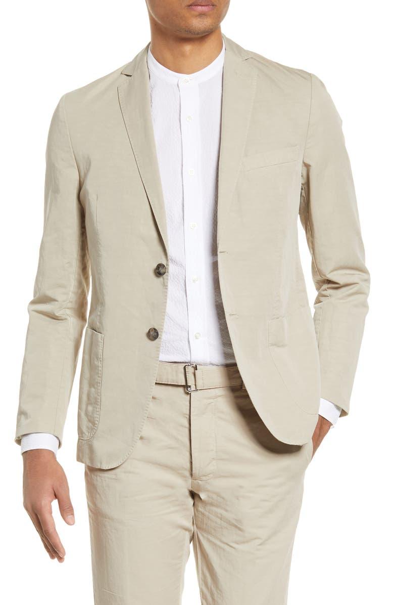 OFFICINE GÉNÉRALE Slub Cotton & Linen Sport Coat, Main, color, BURNT SAND