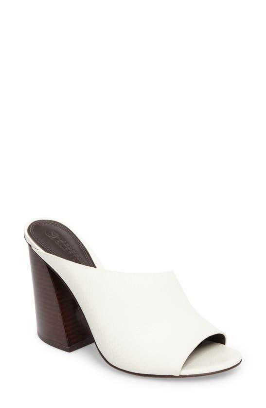 Mercedes Castillo Izar Mule In White Grained Calf