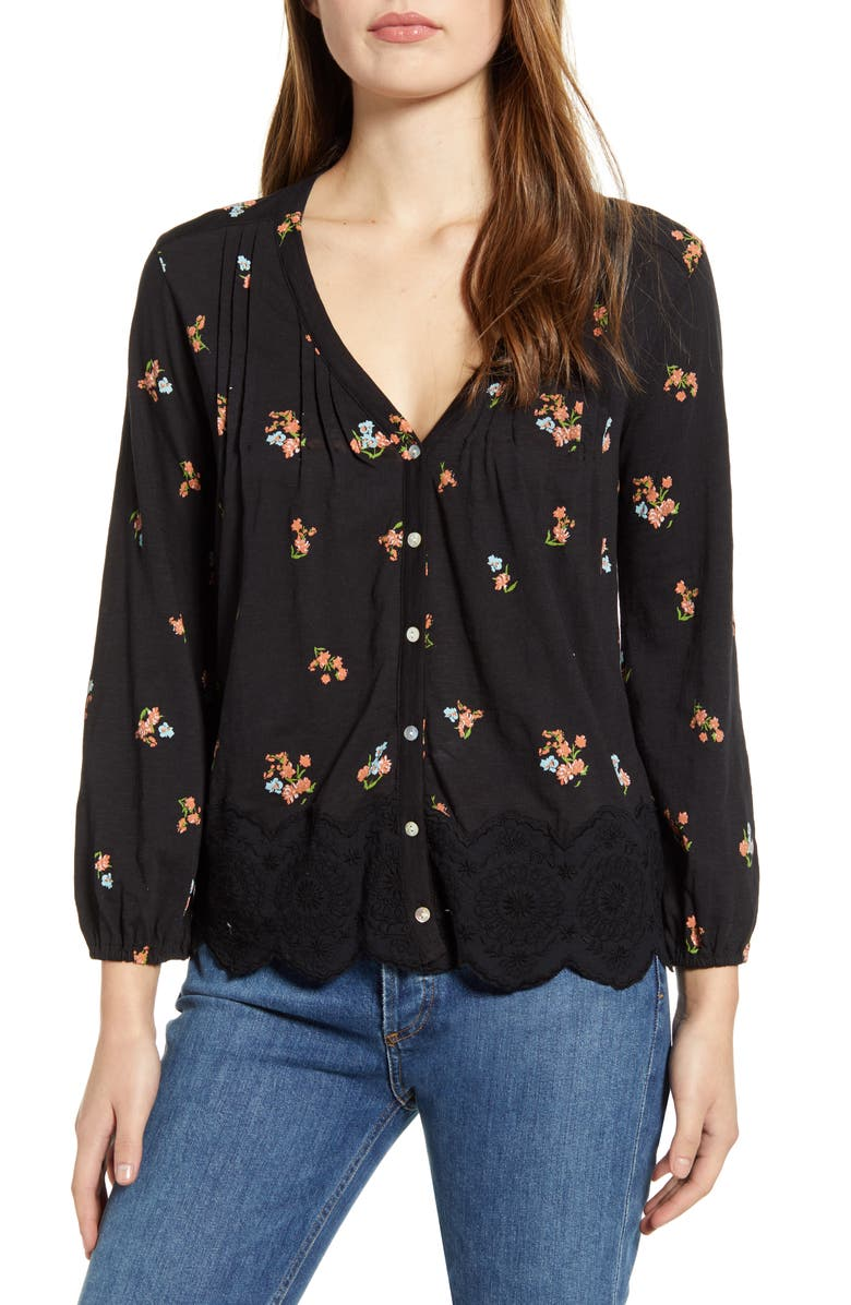 LUCKY BRAND Floral Cotton Peasant Top, Main, color, 009