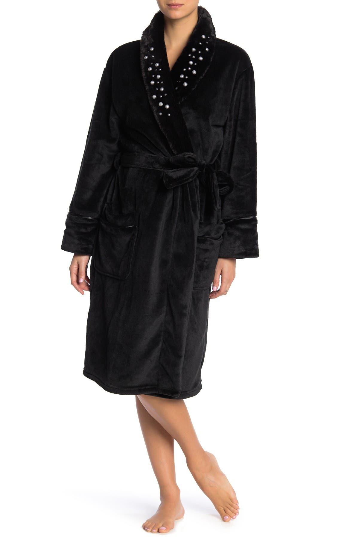 Image of PJ SALVAGE Luxe Affair Faux Fur Pearl Stud Robe