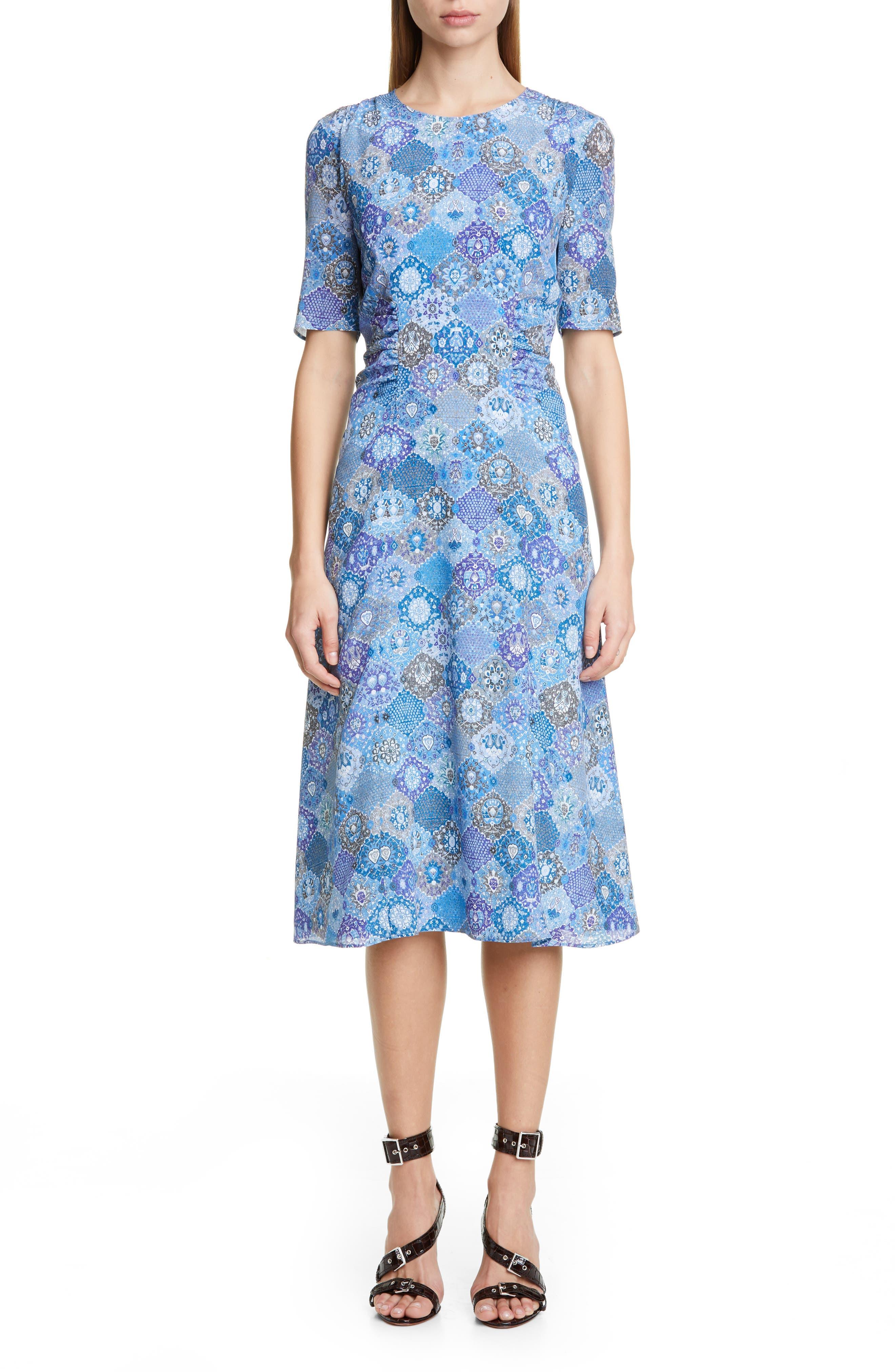 Altuzarra Tile Print A-Line Midi Dress, 8 FR - Blue