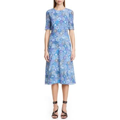 Altuzarra Tile Print A-Line Midi Dress, 8 FR - Blue