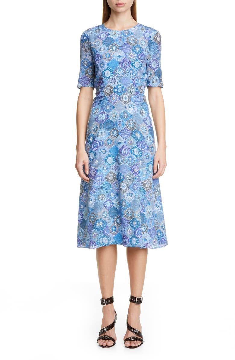ALTUZARRA Tile Print A-Line Midi Dress, Main, color, 402
