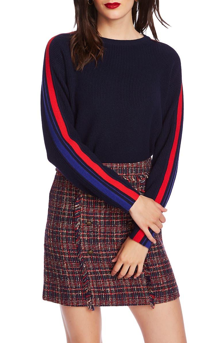 COURT & ROWE Stripe Sleeve Sweater, Main, color, NAVY CRUSH