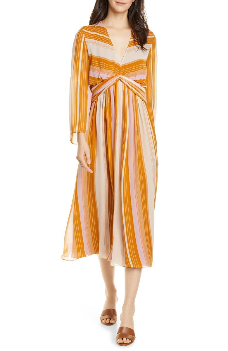 JOIE Andraya Long Sleeve Stripe Silk Dress, Main, color, 200