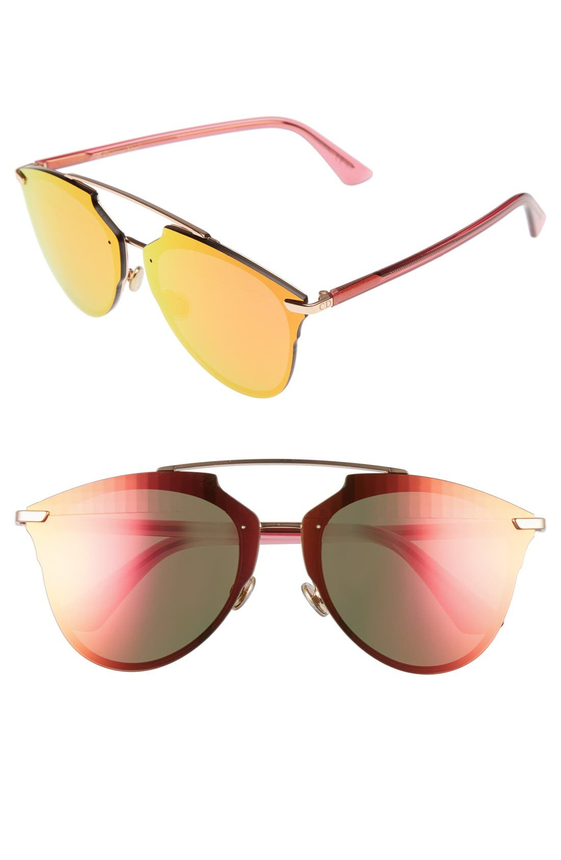 ,                             Reflected Prism 63mm Oversize Mirrored Brow Bar Sunglasses,                             Main thumbnail 18, color,                             600