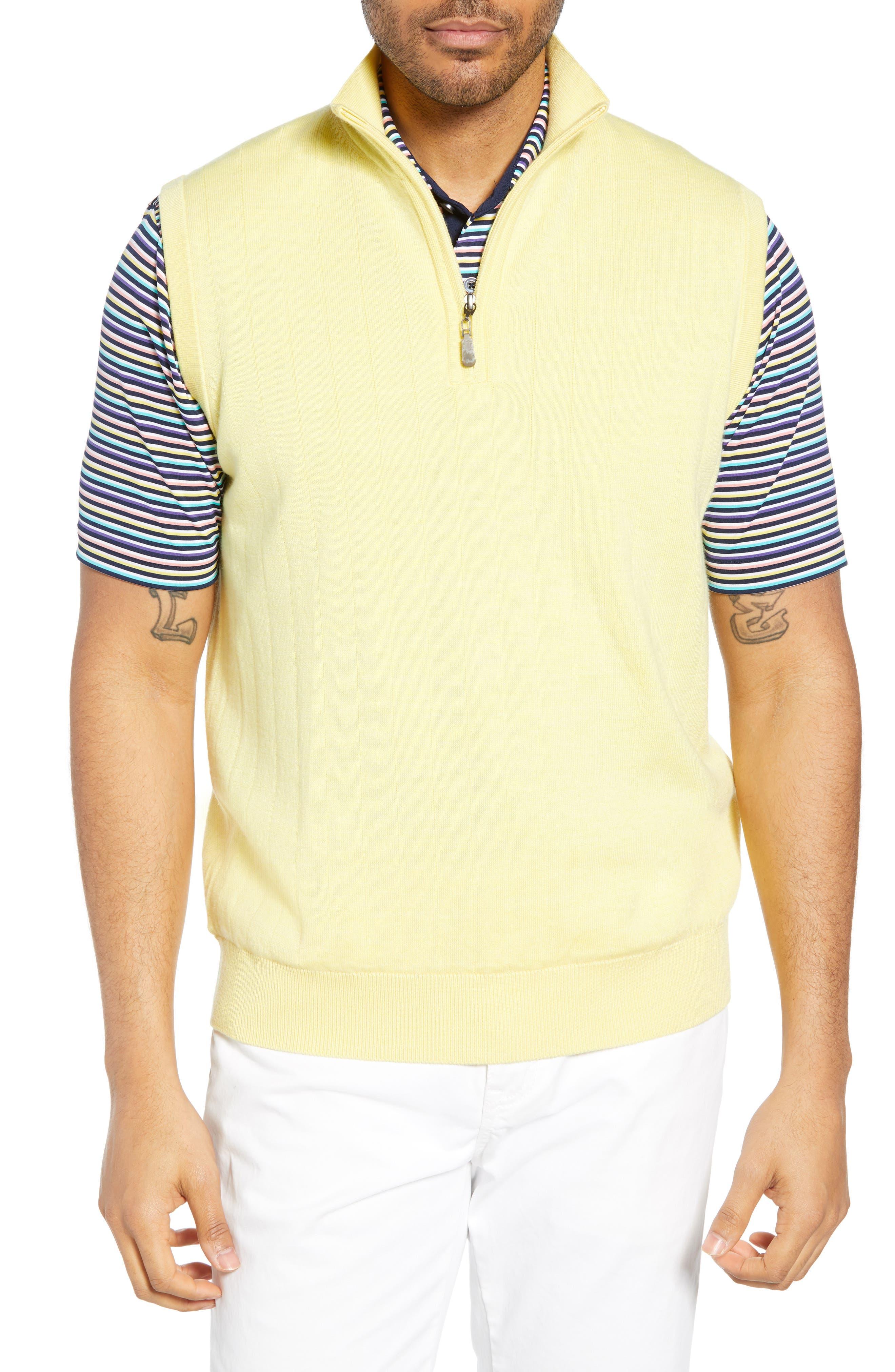 Bobby Jones Quarter Zip Wool Sweater Vest, Yellow