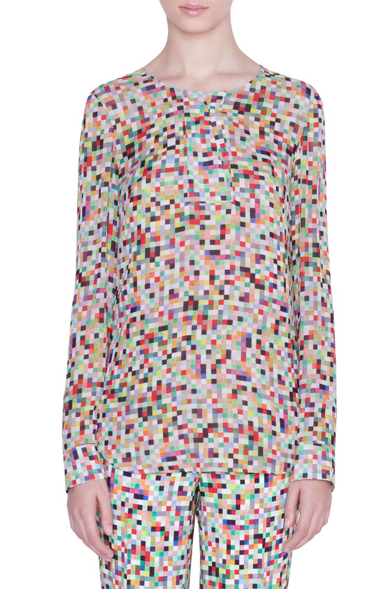 AKRIS PUNTO Pixel Print Silk Blouse, Main, color, PIXELPRINT ALLOVER