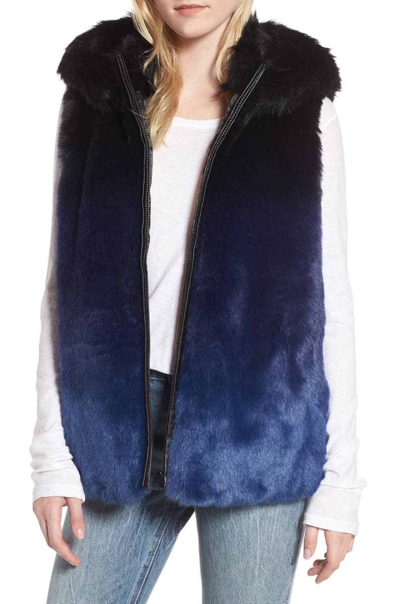 HEURUEH Ryan Ombré Faux Fur Hooded Vest, Main, color, 400