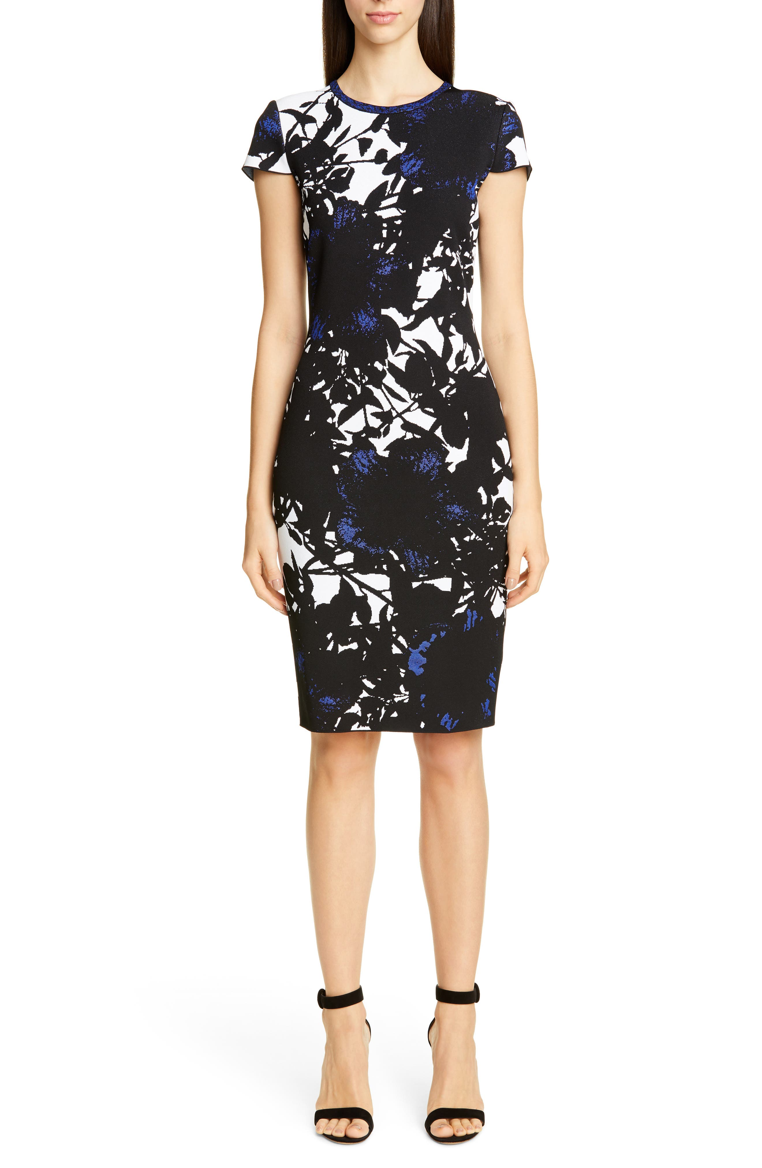 St. John Collection Graphic Floral Jacquard Sweater Dress, Black
