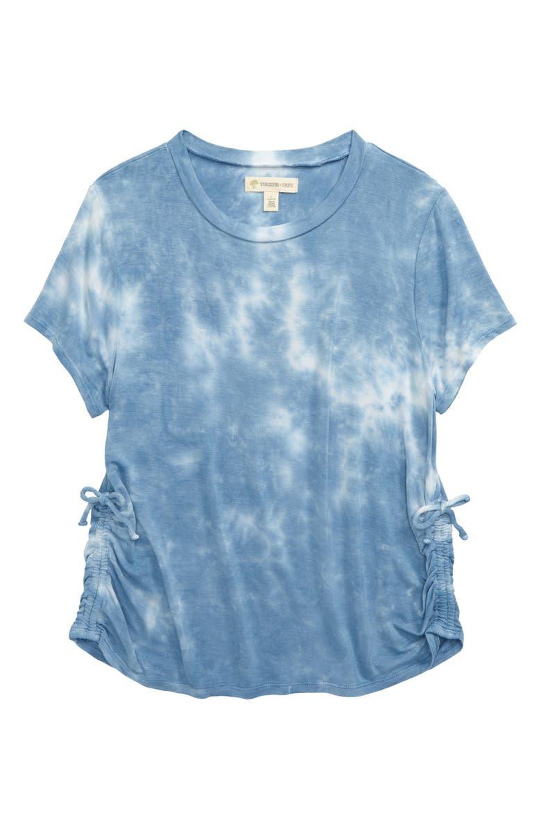 TUCKER + TATE Side Cinch Shirt, Main, color, BLUE RIVIERA TIE DYE