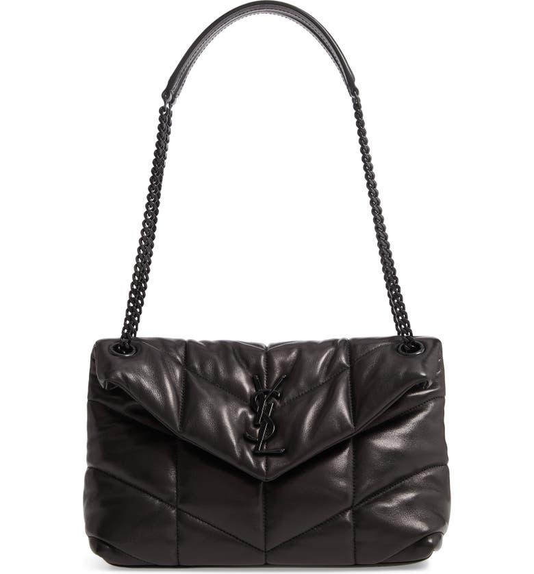 SAINT LAURENT Small Loulou Leather Shoulder Bag, Main, color, 001