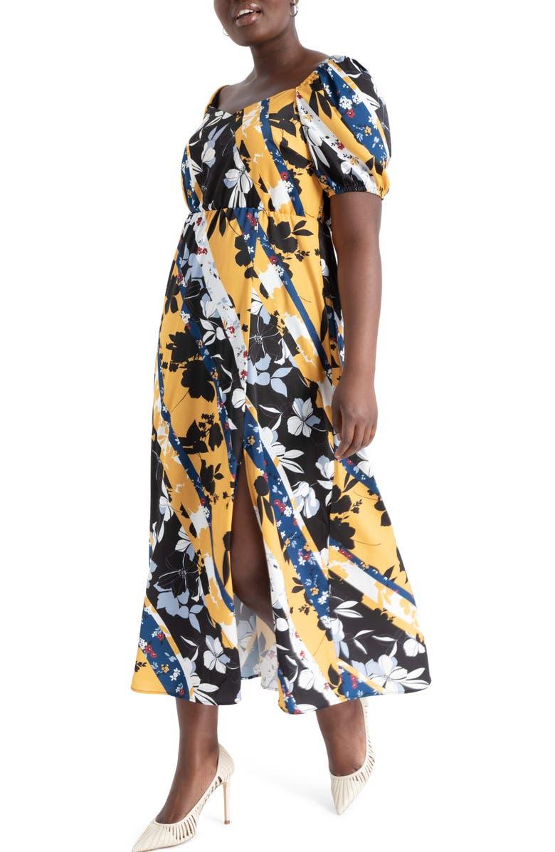 ELOQUII Botanical Print Stretch Satin Maxi Dress, Main, color, BOTANIC COLLAGE