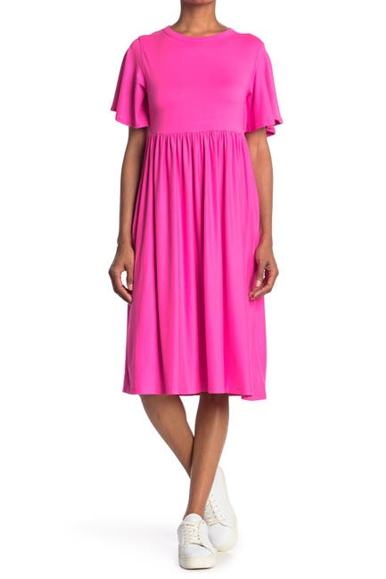 Image of Velvet Torch Flutter Sleeve Babydoll Midi Dress