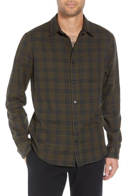 Image of Vince Slim Fit Plaid Double Knit Sport Shirt