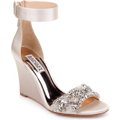 Badgley Mischka Lauren Ankle Strap Wedge, Ivory
