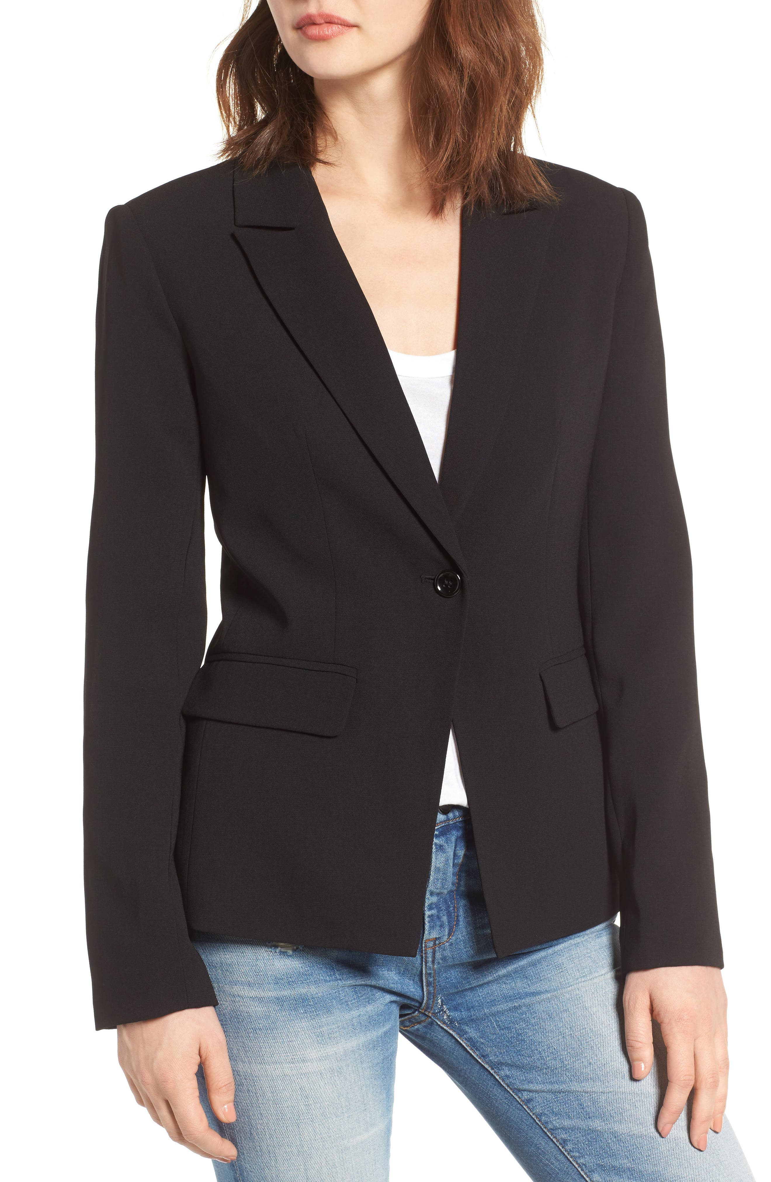 ,                             Structured Blazer,                             Alternate thumbnail 4, color,                             001
