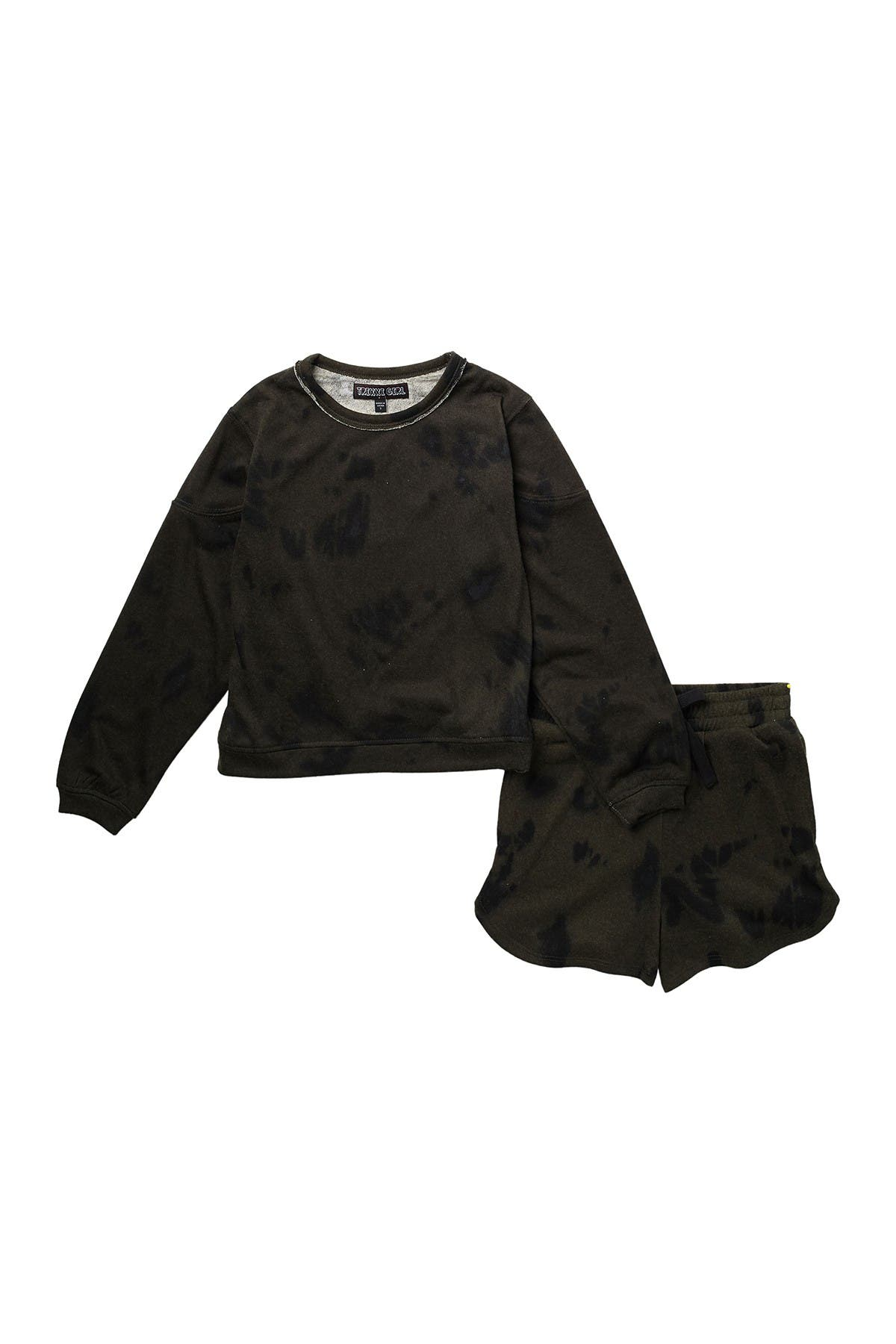 Image of Trixxi French Terry Print Sweatshirt & Shorts 2-Piece Set
