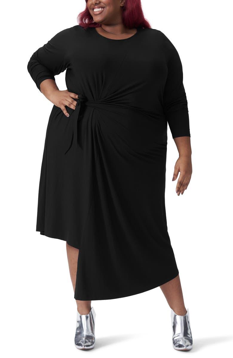 UNIVERSAL STANDARD Dina Long Sleeve Side Tie Dress, Main, color, 001