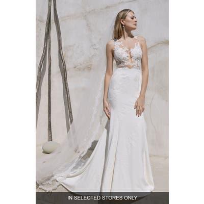 Watters Phoenix Sleeveless Lace & Tulle Silk Blend Trumpet Wedding Dress, Size - Ivory