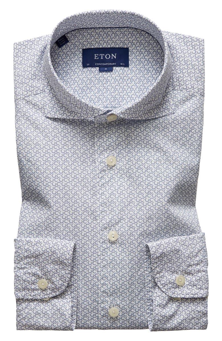 ETON Soft Casual Line Contemporary Fit Button-Up Shirt, Main, color, BLUE