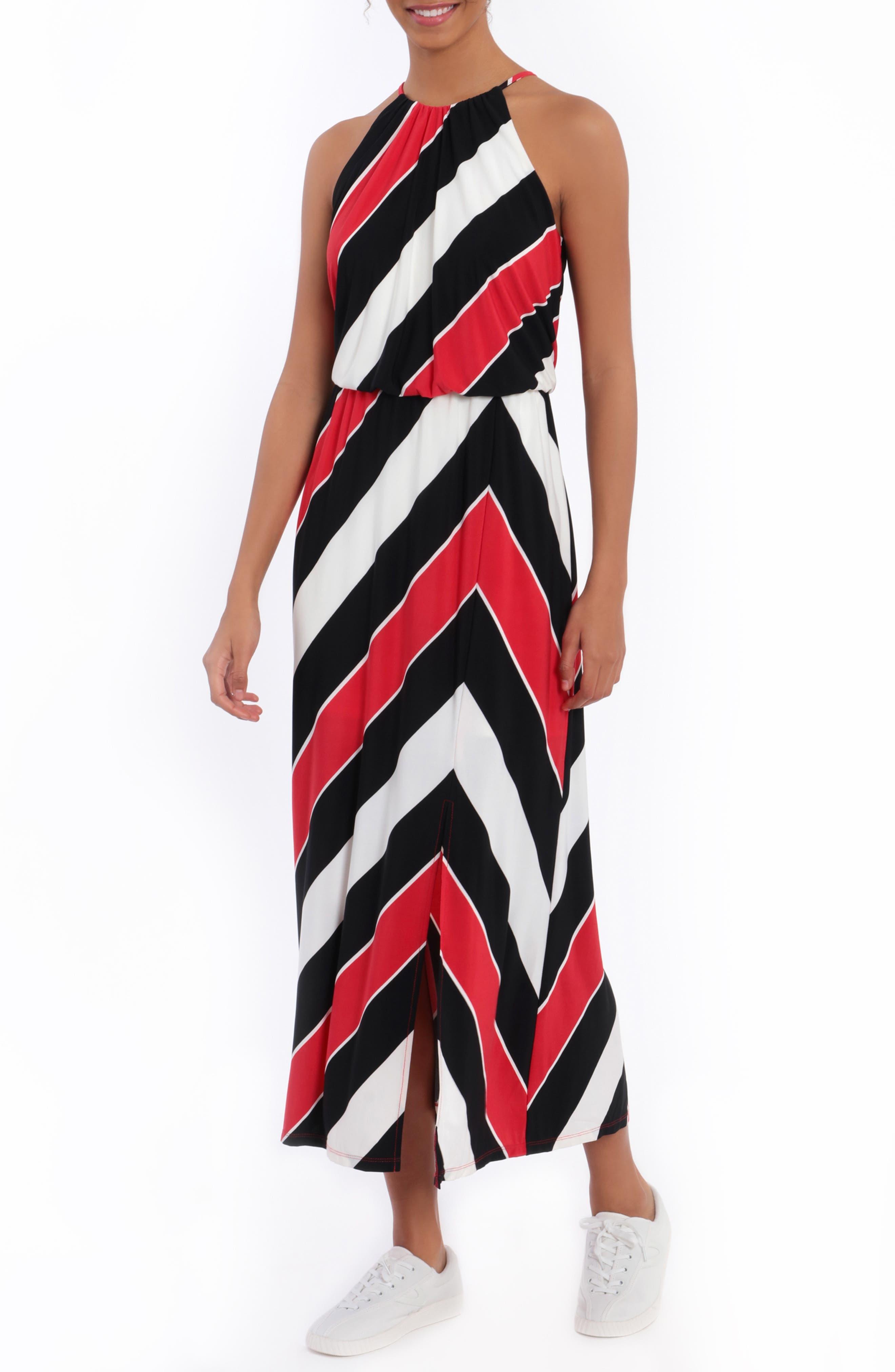 Image of London Times Striped Blouson Halter Maxi Dress