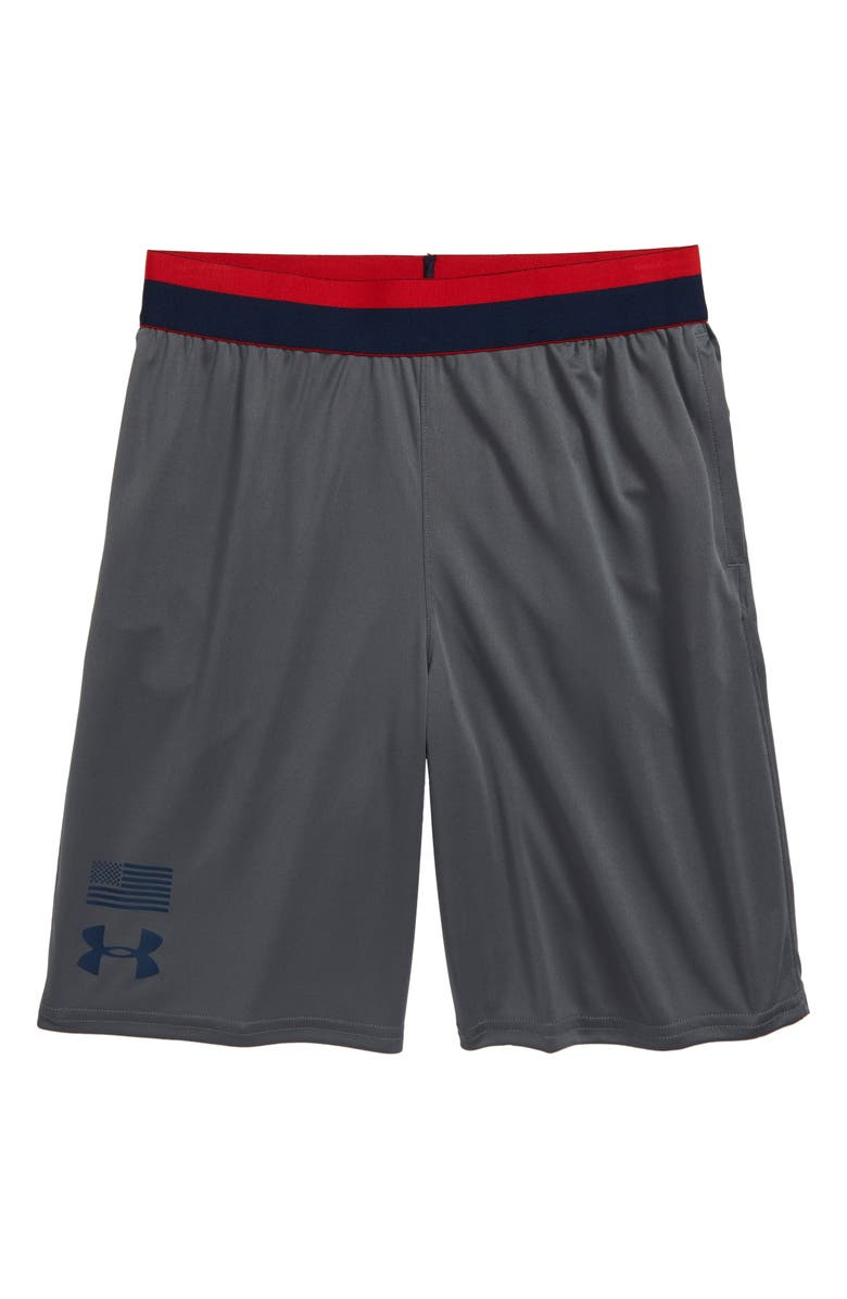 UNDER ARMOUR Americana Prototype Logo HeatGear<sup>®</sup> Athletic Shorts, Main, color, 020