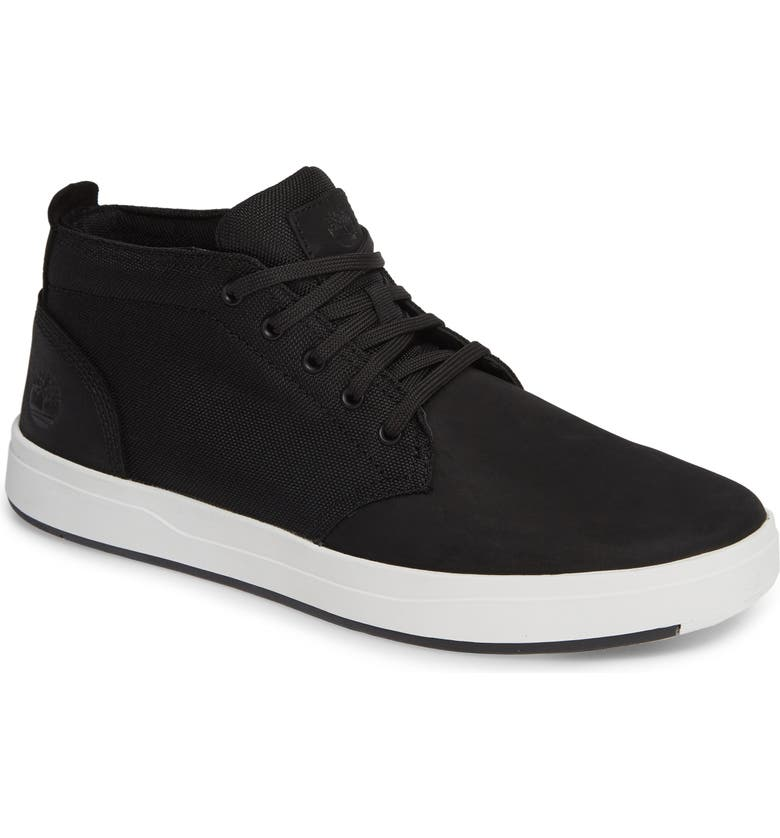 TIMBERLAND Davis Square Mid Top Chukka Sneaker, Main, color, BLACK NUBUCK