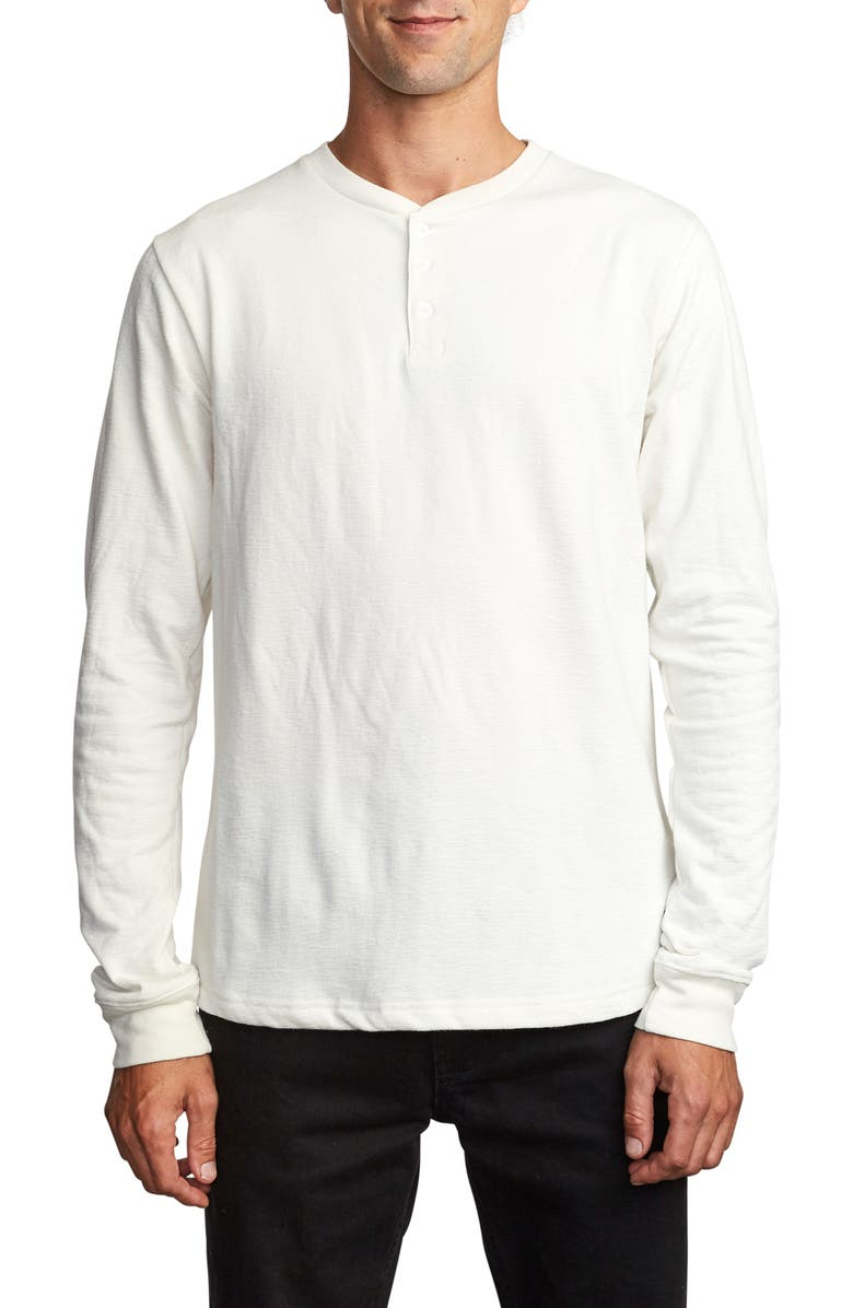 RVCA Lavish Slub Long Sleeve Henley, Main, color, SILVER BLEACH