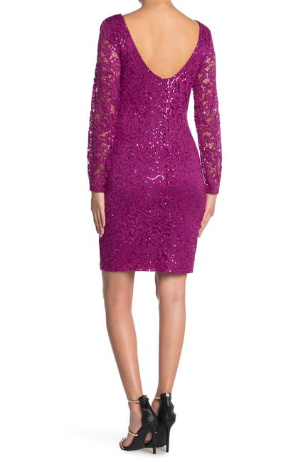 Image of Marina Sequin Lace Long Sleeve Sheath Dress
