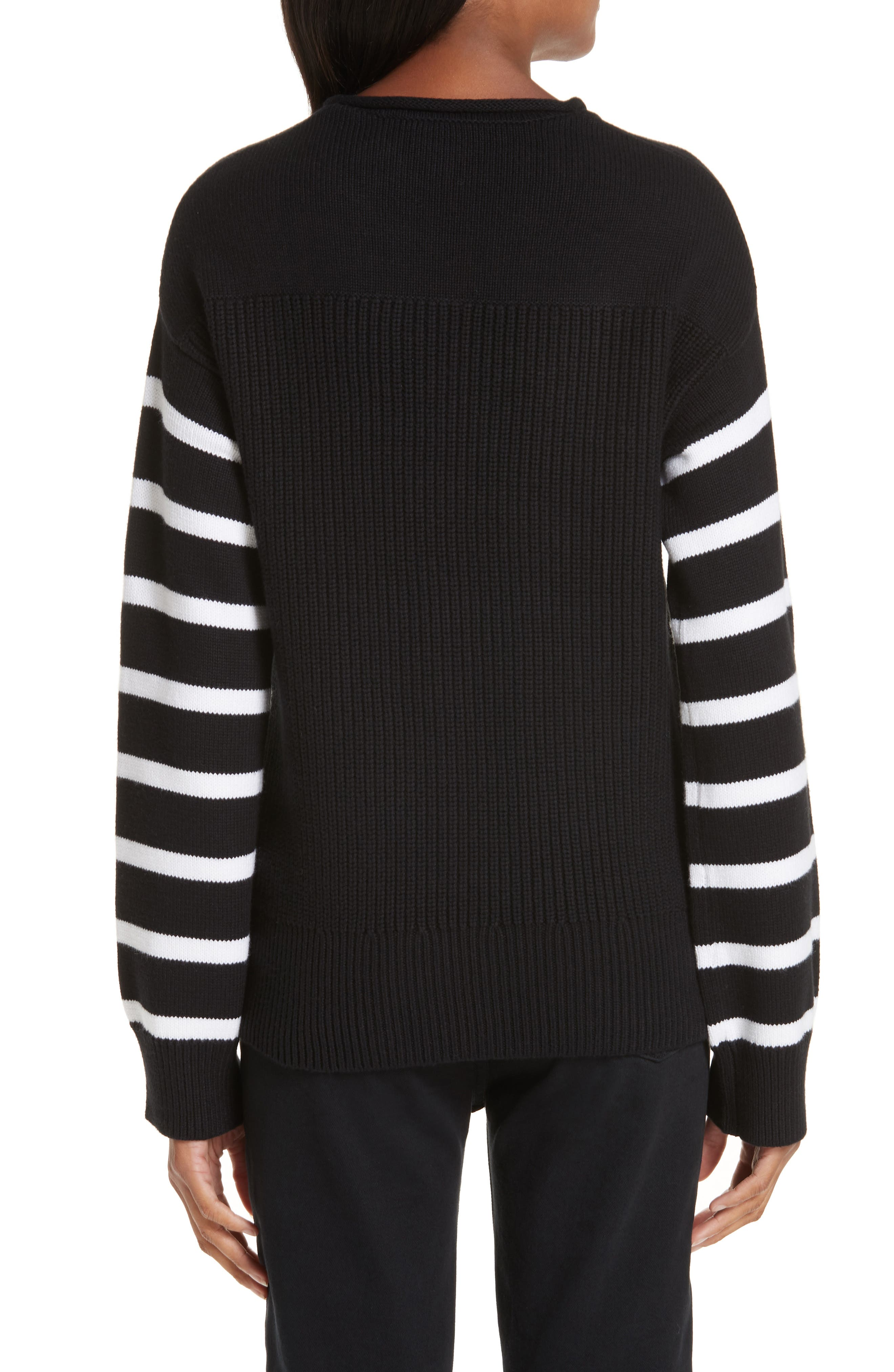 ,                             Stripe Sleeve Cotton Sweater,                             Alternate thumbnail 2, color,                             BLACK