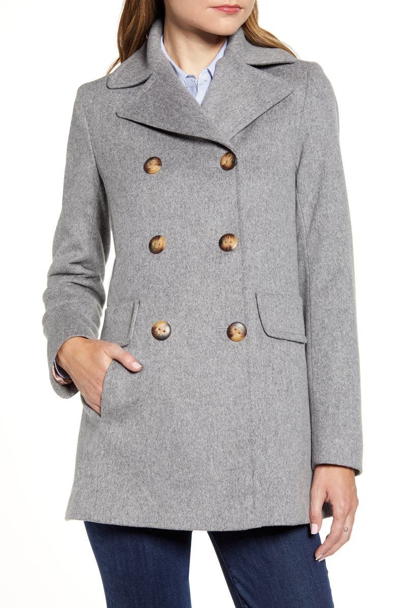 FLEURETTE Double Breasted Wool Peacoat, Main, color, 080