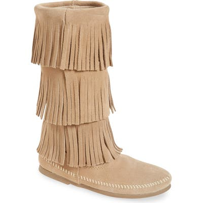 Minnetonka 3-Layer Fringe Boot, Beige