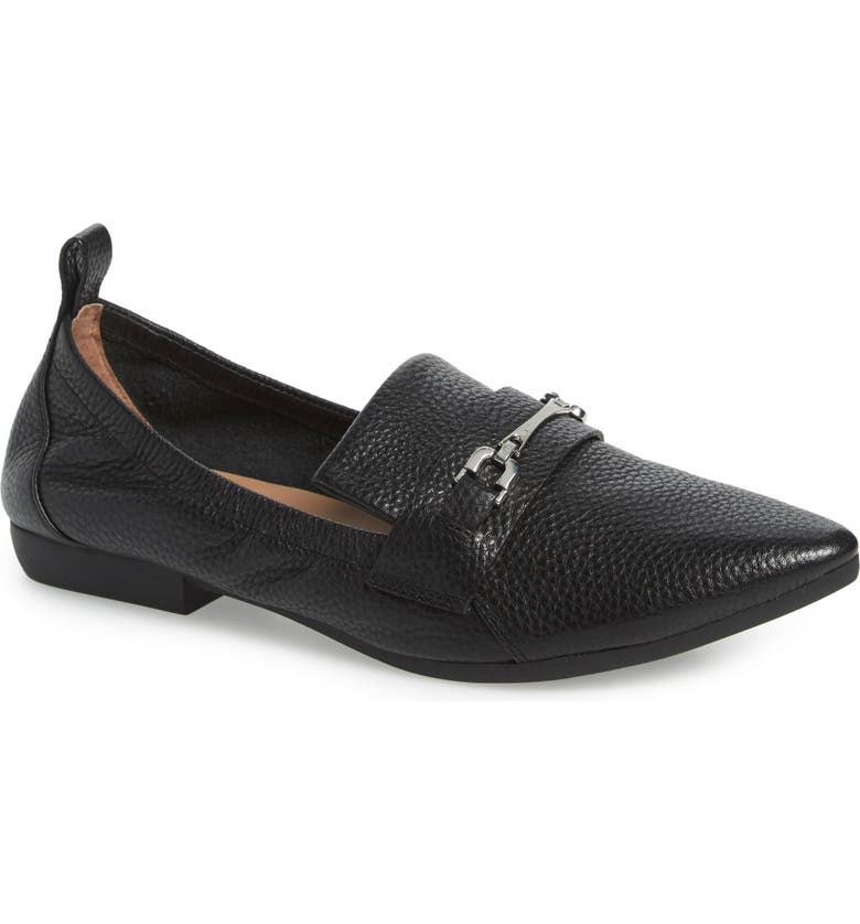 LINEA PAOLO Domino Skimmer Flat, Main, color, BLACK LEATHER
