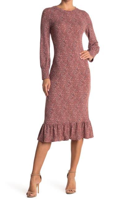 Image of Collective Concepts Leopard Print Ruffle Hem Knit Midi Dress