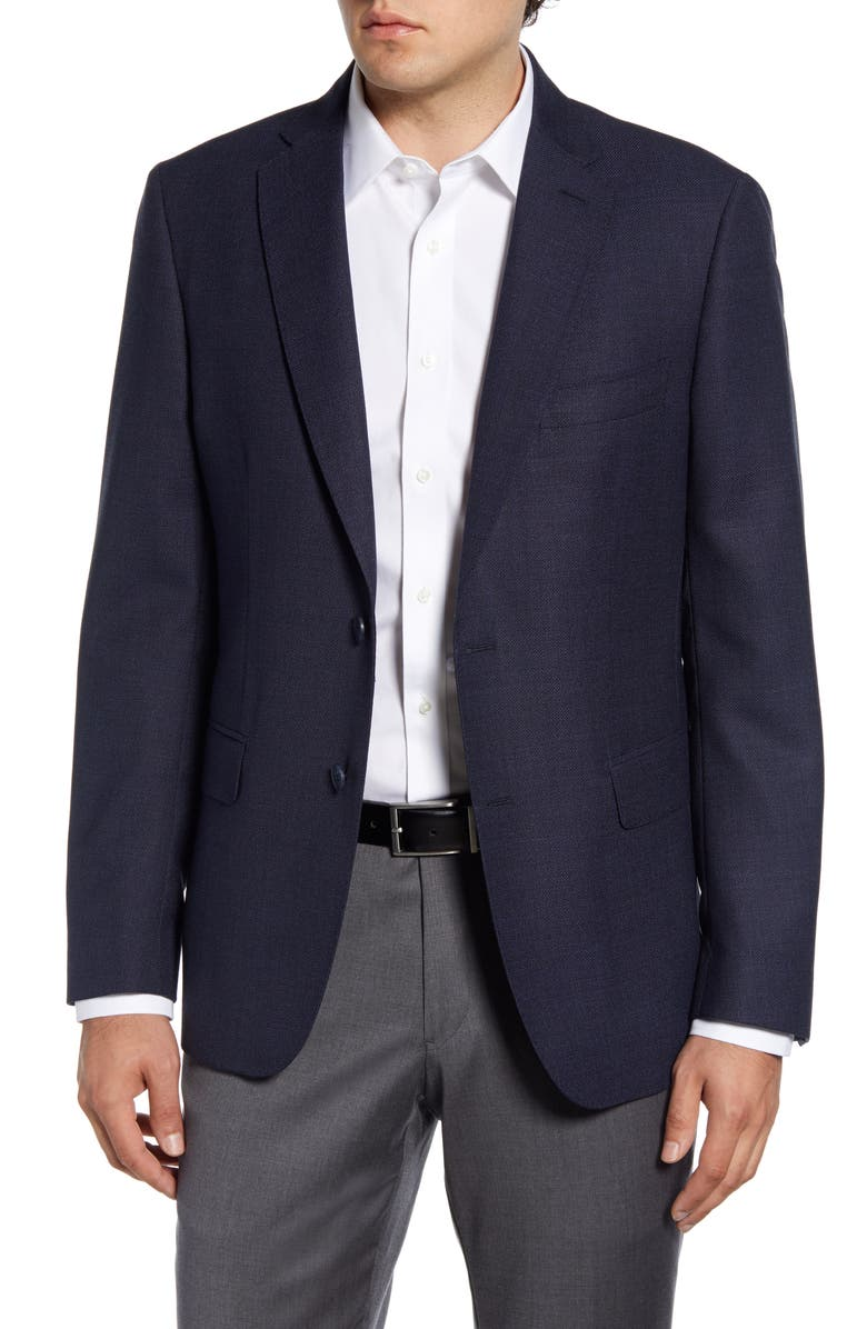 JOHN W. NORDSTROM<SUP>®</SUP> Regular Fit Solid Wool Blazer, Main, color, NAVY BLAZER BLUE BASKETWEAVE