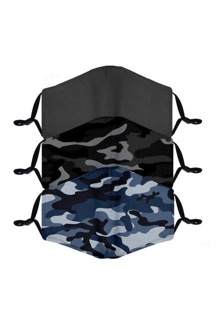 Image of FASHION MASKS Reusable Fashion Adult Face Mask - Pack of 3 - Camo Blue