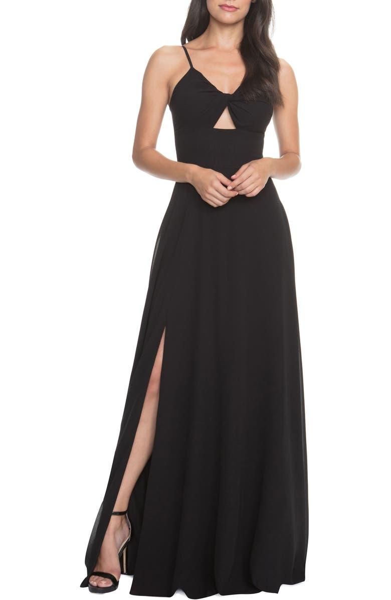 DRESS THE POPULATION Cambria Tie Bodice Evening Dress, Main, color, BLACK