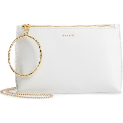 Ted Baker London Ingaah Ring Handle Leather Crossbody Bag - Ivory