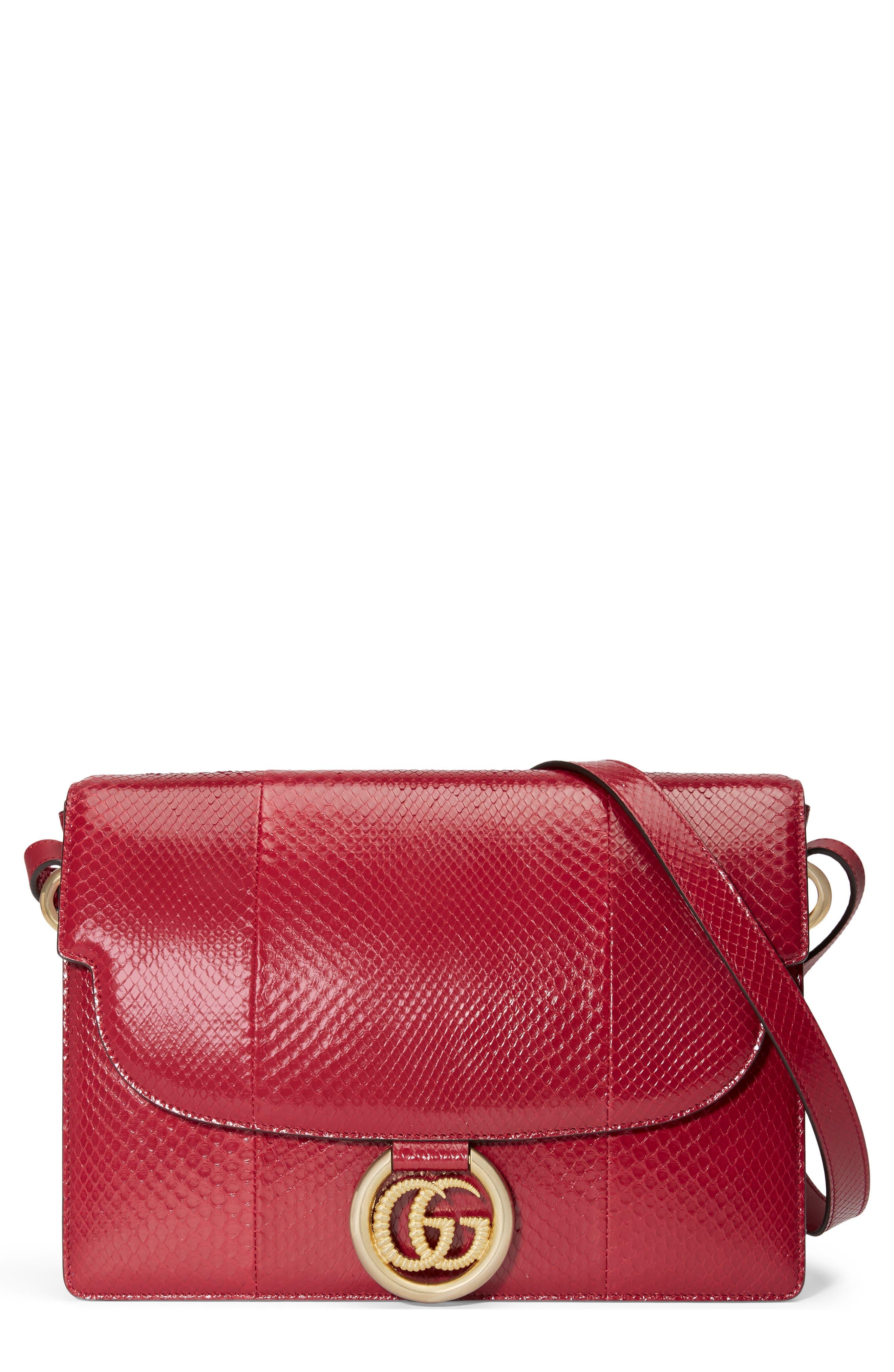 Gucci Shoulder Medium GG Ring Genuine Snakeskin Shoulder Bag