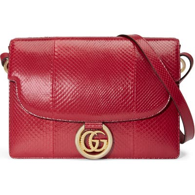 Gucci Medium Gg Ring Genuine Snakeskin Shoulder Bag - Red