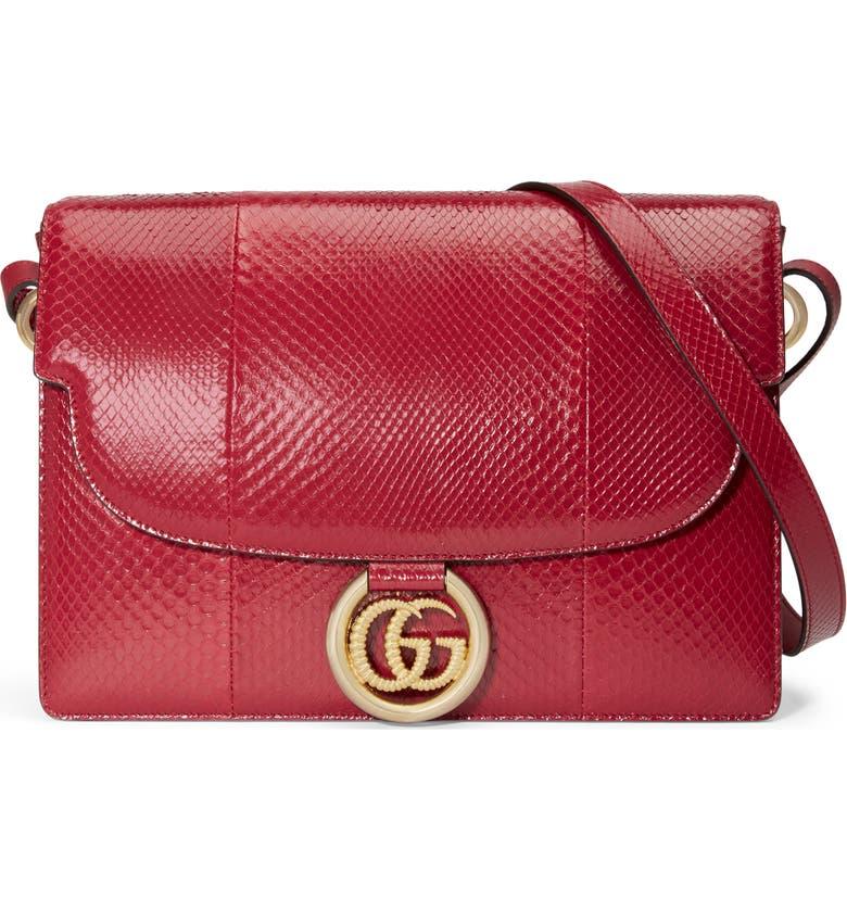GUCCI Medium GG Ring Genuine Snakeskin Shoulder Bag, Main, color, ROMANTIC CERISE