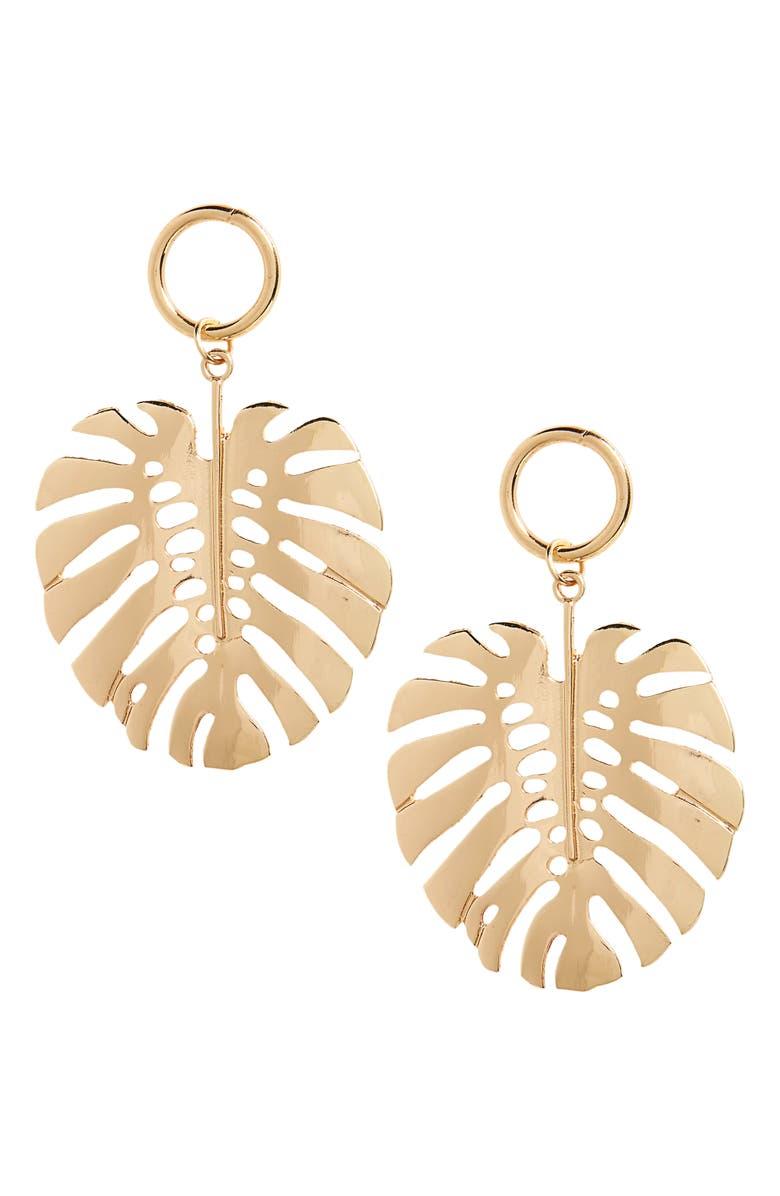 TOPSHOP Leaf Drop Earrings, Main, color, 710