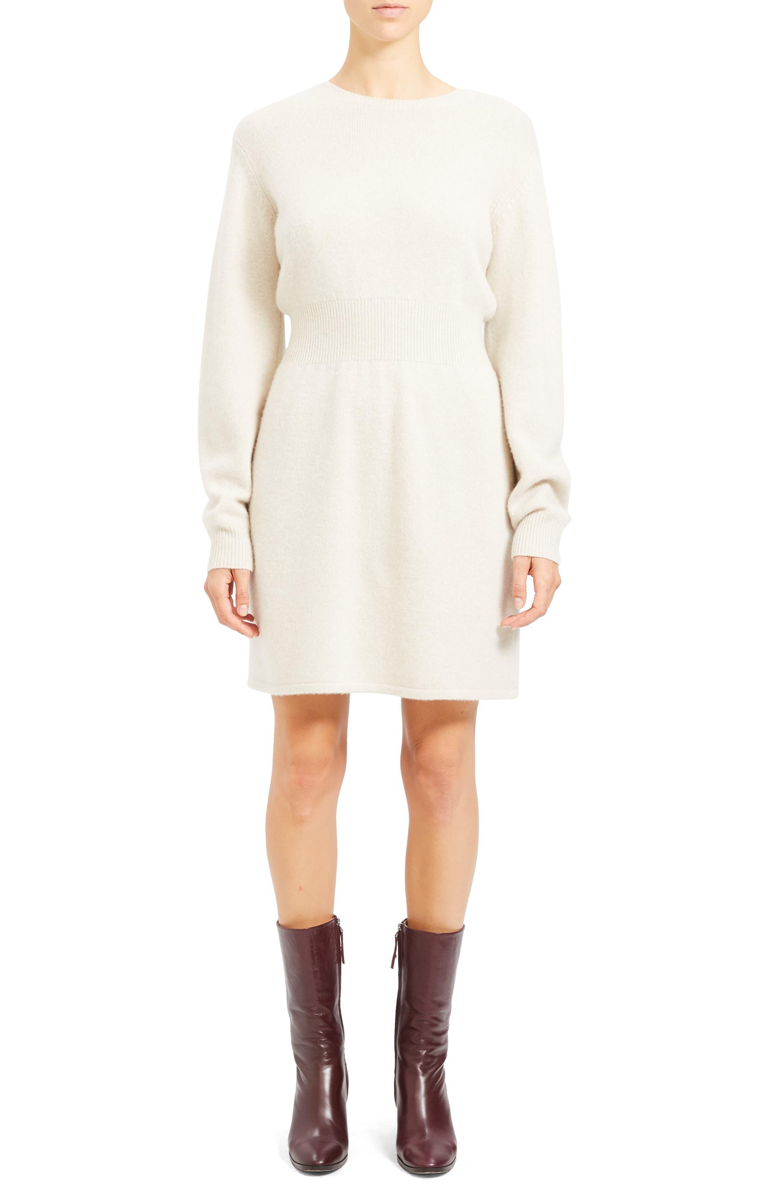 Theory Dresses Wool & Cashmere Long Sleeve Sweater Dress