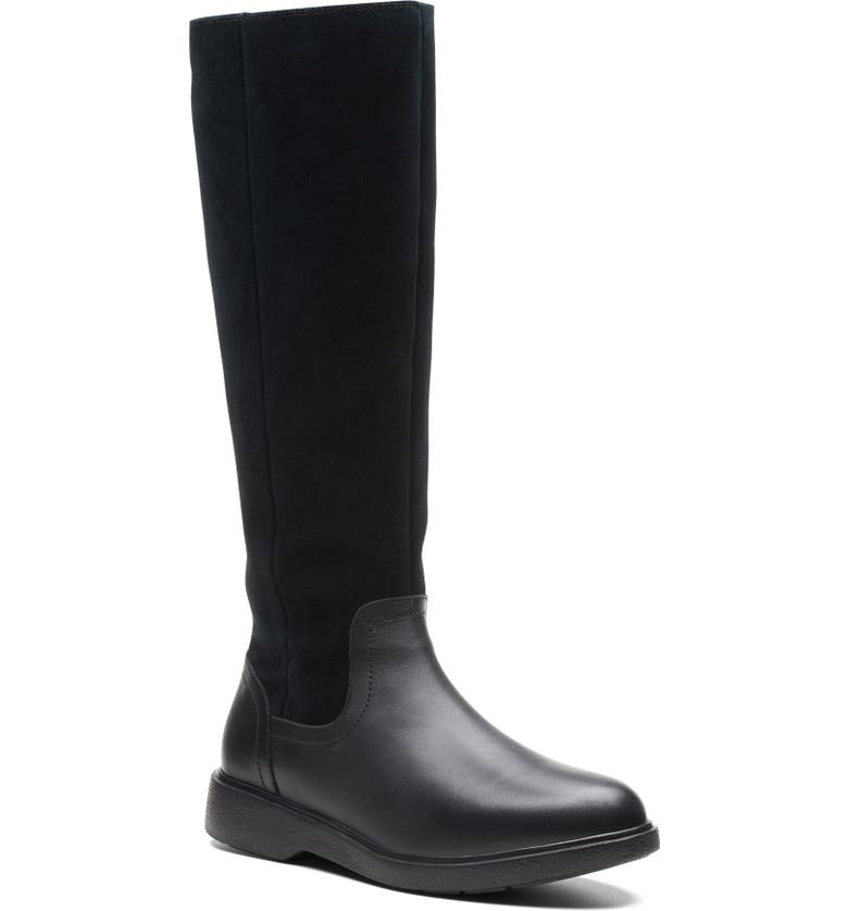 CLARKS<SUP>®</SUP> Unstructured Elda Waterproof Boot, Main, color, BLACK LEATHER