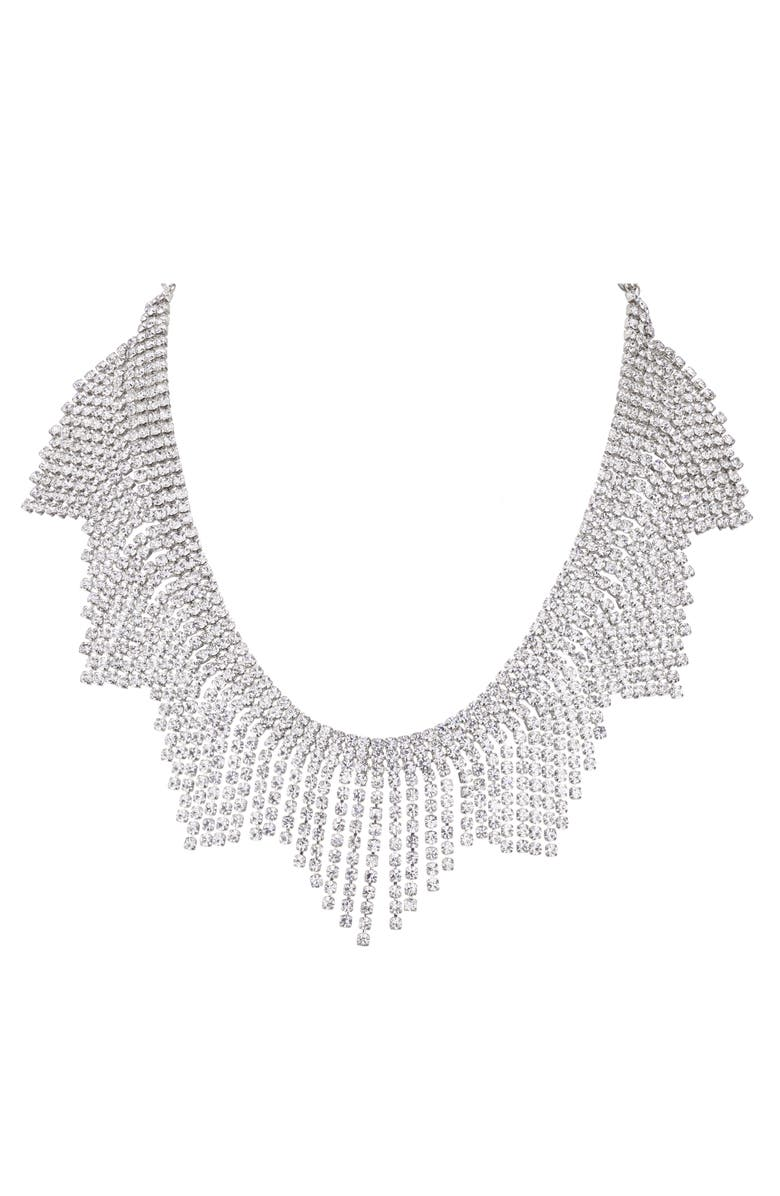 NINA Crystal Fringe Bib Necklace, Main, color, RHODIUM/ WHITE CRYSTAL
