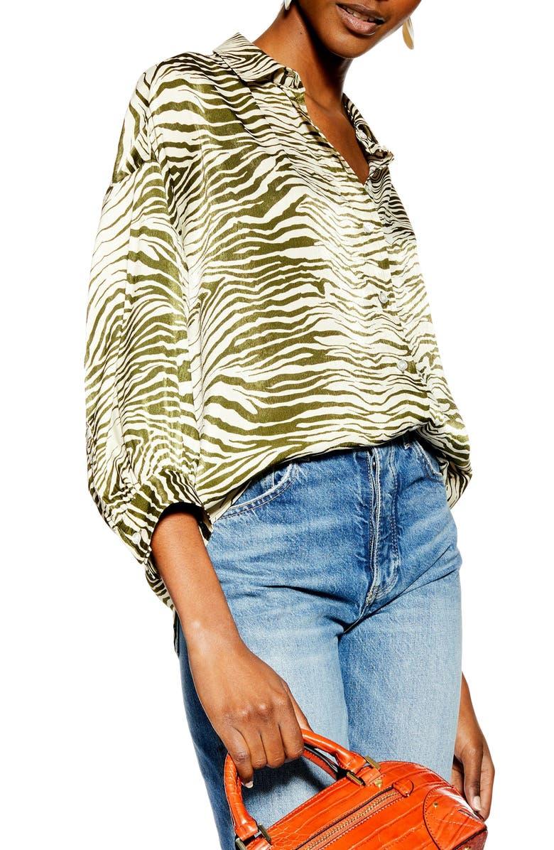 TOPSHOP Zebra Print Shirt, Main, color, 300